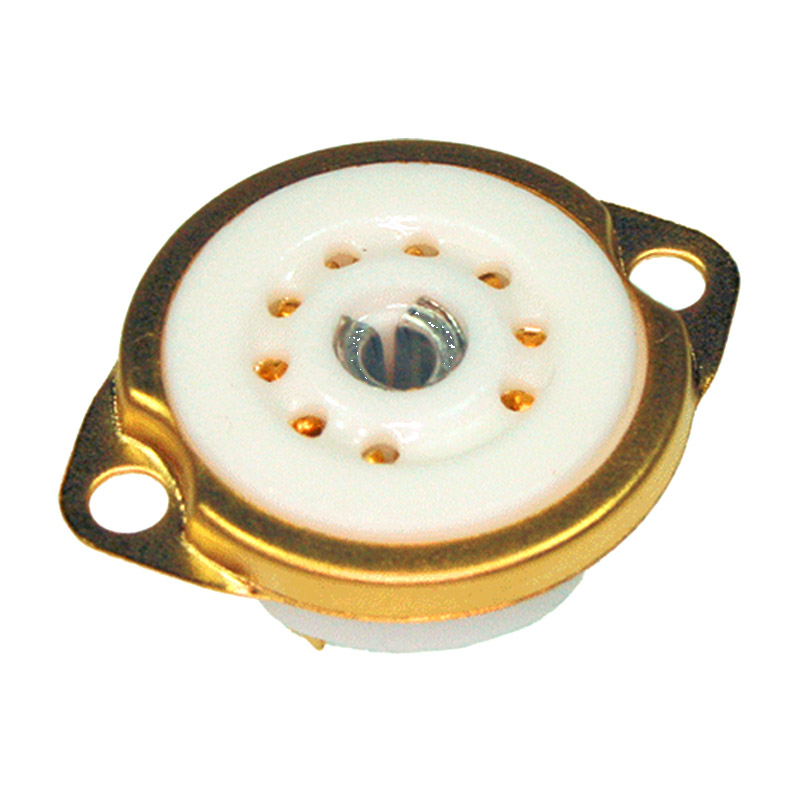Tube socket chassis Noval gold plated